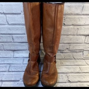 Nine West leather riding harness buckle boots